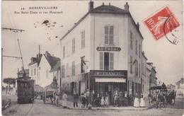 AUBERVILLIERS - Rue Saint-Denis Et Rue Heurtault - Au Tabac Maison Francis - Tramway - Attelage - Animé - TBE - Aubervilliers