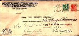 87129) Messico-lettera Con 10c,mordes +40c.talasco Archeologia Da Mexico City A Francofonte 1954 -mittente Interessante - Mexique