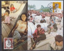UNO Vienna 1984 Refugees 2v 2 Maxicards (37956) - Maximumkaarten