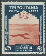 1934 TRIPOLITANIA USATO POSTA AEREA MOSTRA ARTE COLONIALE 25 CENT - I47-6 - Tripolitania