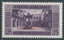 1929 TRIPOLITANIA MONTECASSINO 1,25 LIRE MH * - I46-3 - Tripolitania