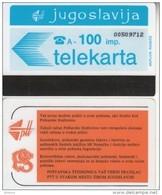 YUGOSLAVIA(Autelca) - Telecom Logo 100 Units(muflon Radece), CN : 8 Digits, Used - Yugoslavia