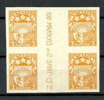 Latvia Lettland 1923 Michel 90 ARCHIVE PROOF Probedruck Essay Druckprobe Cutter Zwischensteg MNH - Lettonie