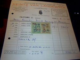 Facture  Heintz  Van  Landewyck Manufacture De  Tabac Et Cigarettes A Luxembourg Duché Duluxembourg  Annee 1958  Fiscaux - Lussemburgo