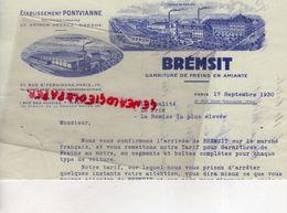 75- PARIS - FACTURE BREMSIT-GARNITURE FREINS AMIANTE-ETS. PONTVIANNE-ARTHUR HECKER DRESDE-21 RUE ST FERDINAND-1930 - Cars
