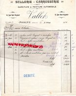 89- JOIGNY- RARE FACTURE MANUSCRITE VALLET- SELLERIE CARROSSERIE AUTOMOBILE-14 QUAI HENRI RAGOBERT- 1934 - Cars