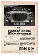 ANTIGUO RECORTE DE PRENSA REVISTA O PERIÓDICO PUBLICIDAD COCHE MG 1300 BRITISH LEYLAND, PUBLICITY CAR VER FOTO/S Y DESCR - Publicidad