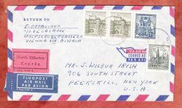 Luftpost, Eilboten Expres, MiF Churertor Feldkirch U.a., Wien Nach Peekskill, AK-Stempel 1967 (48143) - 1945-.... 2. Republik
