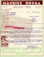 75- PARIS- RARE LETTRE ETS. MAURICE HOUBA-GARAGE AUTO-AUTOMOBILE-11 PLACE DE LA NATION -ANGLE AV. BOUVINES-1934 - Cars