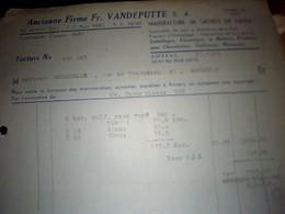 Facture Etablissements Vandeputte  Manufacture De  Sachet  En  Papiers   A Anvers Annee 1952 - Pays-Bas