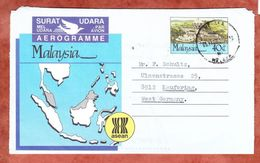 Aerogramme, LF State Civic Centre Kuching, Malacca Nach Kaufering 1988 (48145) - Malaysia (1964-...)