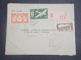 GUYANE - Enveloppe En Recommandé De Cayenne Pour Paris En 1949 , Affranchissement Plaisant - L 15048 - Guyane Française (1886-1949)