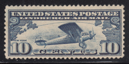 USA 1927 MNH Scott #C10 10c Lindbergh's Airplane 'Spirit Of St. Louis' Over Atlantic Ocean - 1b. 1918-1940 Neufs