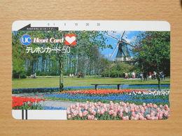 Japon Japan Free Front Bar, Balken Phonecard  / 110-7197 / Windmill Garden - Flowewrs / Heart Card - Japan