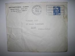 1954 Entreprise Aubry Travaux Publics Paris 8è - Marcophilie (Lettres)