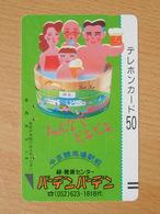 Japon Japan Free Front Bar, Balken Phonecard  / 110-7257 /  Bathing Family / Beer - Japan