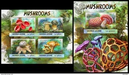 SIERRA LEONE 2017 - Mushrooms. M/S + S/S Official Issue. - Hongos