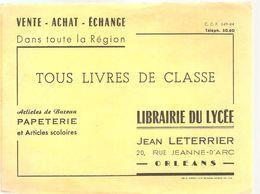 Buvard Jean Leterrrier Librairie Du Lycée Articles De Bureau Papeterie Et Articles Scolaires 20 Jeanne D'Arc Orléans - Stationeries (flat Articles)