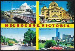 Australia Melbourne Victoria 1992 / Princes Bridge, Flinders Street Station, St Kilda Road, City Skyline - Melbourne