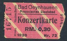ZD375d Konzertkarte RM 0,30 Bad Oeynhausen Preussisches Staatsbad - Vieux Papiers
