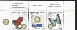 RJ) 2005 COSTA RICA, INTERNATIONAL ROTARY CENTENNIAL, DEFENSE OF THE ENVIRONMENT, FROG, BUTTERFLY, EMBLEM, STRIP - Costa Rica