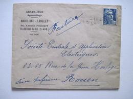 1947 MADELEINE LANGLET Abat-Jour VILLENEUVE-le-ROI - Marcophilie (Lettres)