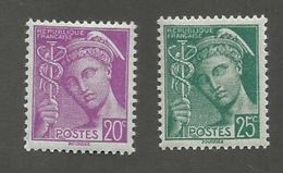 FRANCE - N°YT 410/11 NEUFS** SANS CHARNIERE - COTE YT : 0.30€ - 1938/41 - 1938-42 Mercure