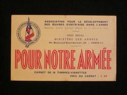 """Carnet De 20 Timbres, """"Pour Notre Armée"""", Oeuvres D'entr'aide Dans L'Armée, 1958, époque Guerre D'Algérie. - Commemorative Labels"""