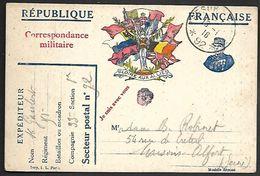 CM 99  Correspondance Militaire 16-01-16 Cachet Trésor Et Postes Simple Cercle N°(SP)92 Commandement D'Etapes De La 6ème - Marcophilie (Lettres)