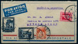 1934 , LA CORUÑA  - BUENOS AIRES VIA AEROPOSTALE , AMBULANTE CORUÑA - LEÓN CERTIFICADO , LLEGADA - 1931-Heute: 2. Rep. - ... Juan Carlos I