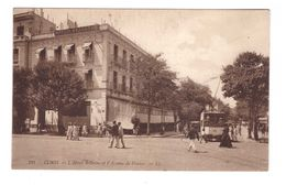 Train Chemin De Fer Tram Tramway à Tunis Tunisie Cpa Animée Hotel Bellevue Et Avenue De France - Tramways