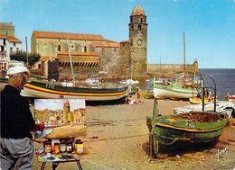 66 - Collioure L'Église Et Le Port De Pêche. Artiste Peintre, Peinture - Collioure