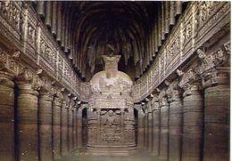 Ajanta - Interior View Of Cave - Formato Grande Non Viaggiata – E 3 - India