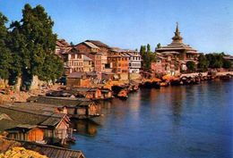 Kashmir - Srinagar - Boats - Houses And Mosque On The Jhelum River - Formato Grande Viaggiata – E 3 - India