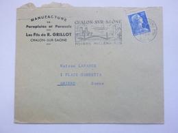 Enveloppe Publicitaire GRILLOT Parapluies - 1958 Oblitération Flamme Cachet Chalon Sur Saône - Foires Millénaires - 1921-1960: Période Moderne
