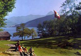 Die Rutliwiese Mit Brunnen Und Den Beiden Mythen - Formato Grande Viaggiata Mancante Di Affrancatura – E 3 - Cartoline