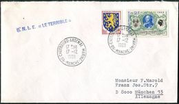 France 1969 Submarine Sous-Marin SNLE LE TERRIBLE Cover 50-CHERBOURG-ARSENAL MARINE-MANCHE Cds Naval Mail NAVY U-Boot - Submarines