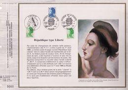 FEUILLET CEF TIRAGE 20.300 EX EN OFFSET, REPUBLIQUE TYPE LIBERTE, 1986 - Philatélie & Monnaies