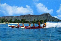 Outrigger Canoe Waikiki - Ektachrome By Billy Howell - Formato Grande Viaggiata Mancante Di Affrancatura – E 3 - Cartoline