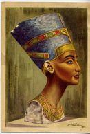Painted Limestone Bust Of Queen Nefertiti - Wife Of Echnaton 18th Dynasty - D.vassilion - Formato Grande Viaggiata Manca - Cartoline