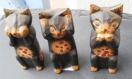 Les 3 CHATS De La SAGESSE (en Bois) Hauteur 8.5 Cm - Cats