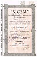 """Ancienne Action - Sté Industrielle Et Commerciale Electro-Mécanique """"SICEM"""" - Titre De 1937 - Industrie"""