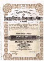 Ancienne Action - Sté Anonyme Des Forges, Usines & Fonderies De Gilly - Titre De 1947 - Industrie