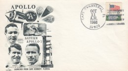 Apollo 7 Cover, Schirra Eisele And Cuningham Astronauts, Cape Canaveral FL 11 October 1968 Postmark - Covers & Documents