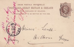Great Britain 1883 One Penny Postal Card, Higgins & Gage #10, Postally Used 1883 Mailed London To Heilbroon Germany - Stamped Stationery, Airletters & Aerogrammes