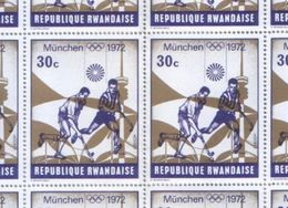 Rwanda 1972 Full Sheet Munich Olympic Games 30c Stamps MNH - Rwanda