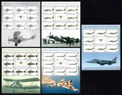 TRISTAN DA CUNHA 2008 90th Anniversary Of The RAF: Set Of 5 Sheets UM/MNH - Tristan Da Cunha