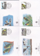 World Wide Fund For Nature 1996 Zambia, Birds, Set 4 Official First Day Covers - FDC