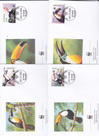 World Wide Fund For Nature 2003 Guyana,Toucan, Set 4 Official First Day Covers - FDC