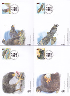 World Wide Fund For Nature 2006 Falkland Islands,Striated Caracara Phalcoboenus Set 4 Official First Day Covers - FDC